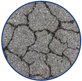 "Picture of a close-up view of severely cracked asphalt pavement. The picture is a logo symbolizing the research theme of: ""Enhancing Durability and Service Life of Infrastructure""."