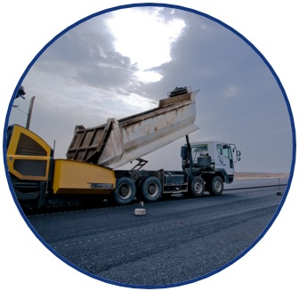 "Picture of a white truck dumping paving material in a yellow paver: a scene of an asphalt paving operation. The picture is a logo symbolizing the research theme of: ""Preserving Existing Transportation Systems""."