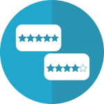 Two white rectangles each containing five stars. The top rectangle contains five blue stars, and the bottom rectangle includes four blues stars and one empty (white) star. The rectangles are on top of a two-toned blue circle. Logo that symbolizes five-star and four-star reviews, respectively, and that each project team will be assessed/reviewed.