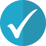 "A thick, white checkmark, on top of a two-toned blue circle. Logo that symbolizes a ""checklist of reporting requirements"" to be completed by each Principal Investigator."