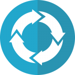 Four continuous arrows (white) make up a circle, on top of a two-toned blue circle. Logo that symbolizes continued management of the Center.