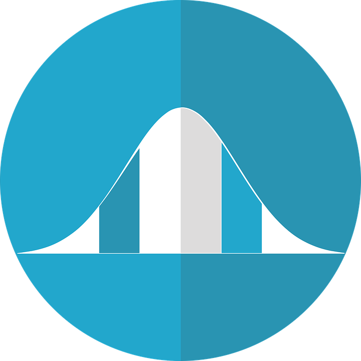 "A white-colored depiction of a ""bell curve"", on top of a two-toned blue circle. Logo depicts a specific statistical analysis, and symbolizes ""analysis"" and the Center's research program in general."