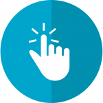 Depiction of a white-colored, right hand clicking with its index finger, on top of a two-tone blue circle. Logo symbolizes an individual clicking and subscribing to the Center's e-mail list.