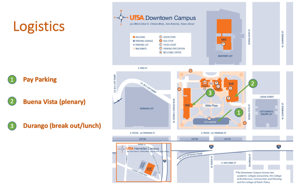 A map showing the location for the Pay Parking, Buena Vista (plenary) and Durango (break out/lunch)